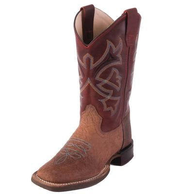 Old West Boy's Red Bull Hide Western Boots