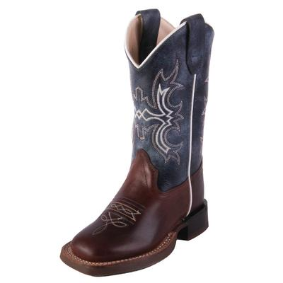 Old West Boy's Blue Wipe Out Western Boots