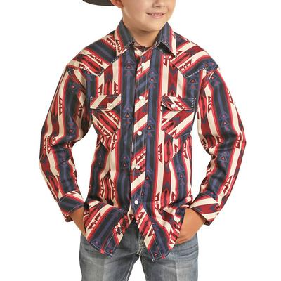 Rock&Roll Dale Brisby Boy's Red Aztec Print Shirt