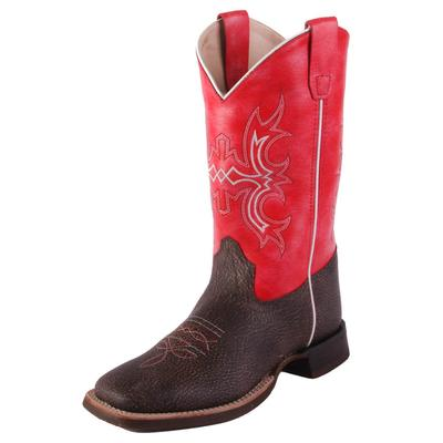 Old West Youth Brown and Red Western Boots
