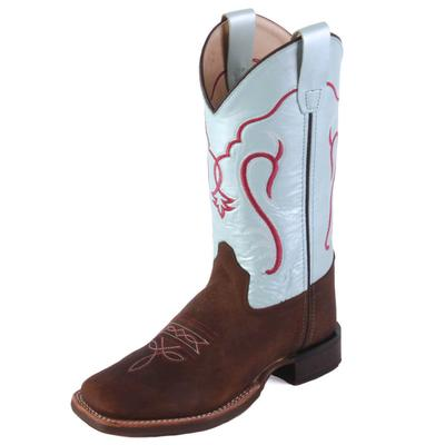 Old West Youth Brown and Blue Western Boots