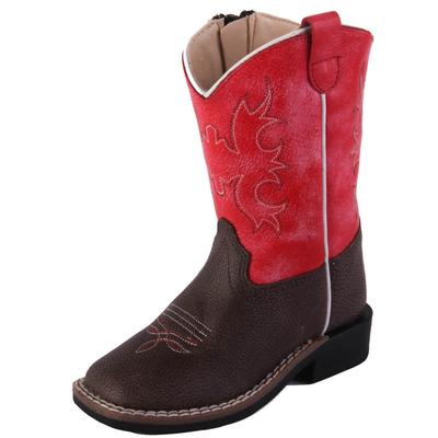 Old West Toddler Brown and Red Western Boots