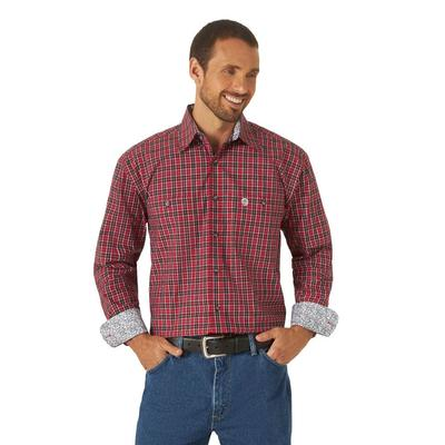 Men's Wrangler George Strait Red and Black Plaid Button Down