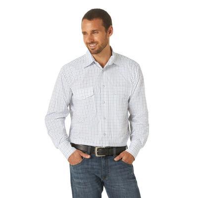 Men's Wrangler Bright White Western Plaid Shirt