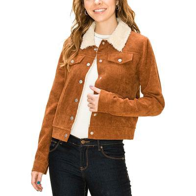 Women's Brown Corduroy Fur Lined Jacket