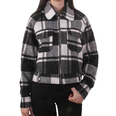 Women's Black and White Plaid Jacket