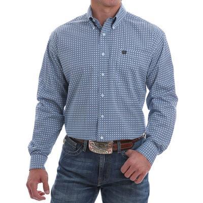 Cinch Men's Blue and White Dot Print Button-Down Shirt