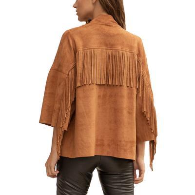 Women's Fringe Camel Suede Jacket