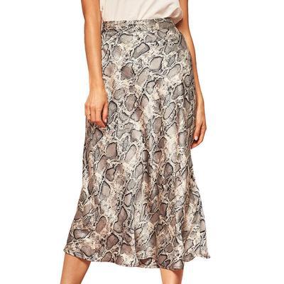 Women's A-Line Snake Print Midi Skirt