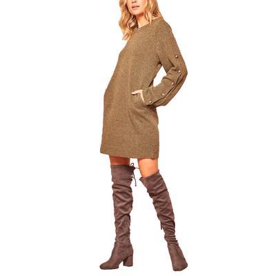 Women's Speckled Mini Knit Sweater Dress