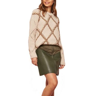 Women's Leather and Suede Mini Skirt