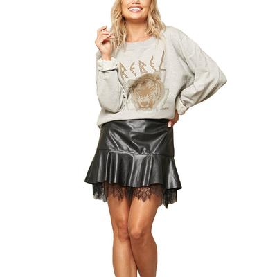 Women's Leather and Lace Ruffled Mini Skirt