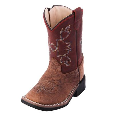 Old West Toddler Red Bull Hide Western Boots