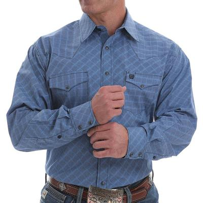 Cinch Men's Blue and Navy Geometric Western Snap Shirt
