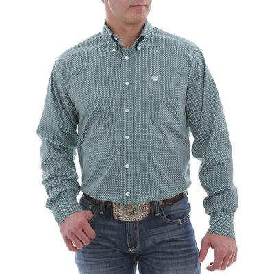 Cinch Men's Teal Geometric Print Button Down
