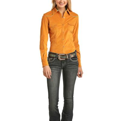 Rock&Roll Women's Yellow and Turquoise Snap Shirt