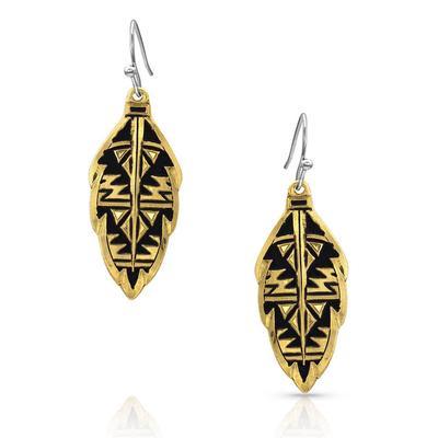 Montana Silversmiths Sedona Gold Ranch Feather Earrings