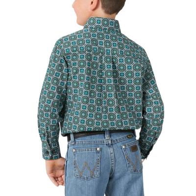 Wrangler Boy's Turquoise Classic Button Down Shirt