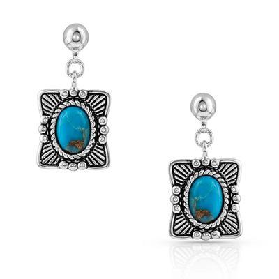 Montana Silversmiths Pillowed Turquoise Portrait Earrings