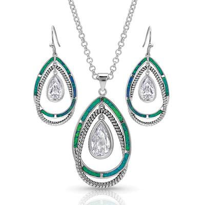 Montana Silversmiths Opal Ribbons Teardrop Jewelry Set