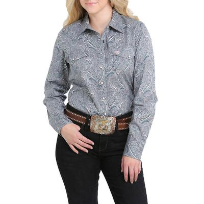 Cinch Women's Teal and Grey Plain Weave Snap Shirt
