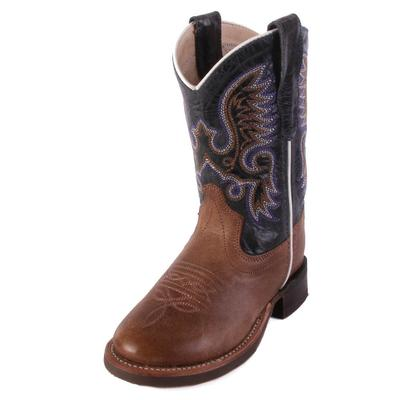 Old West Youth Tan and Blue Western Boot