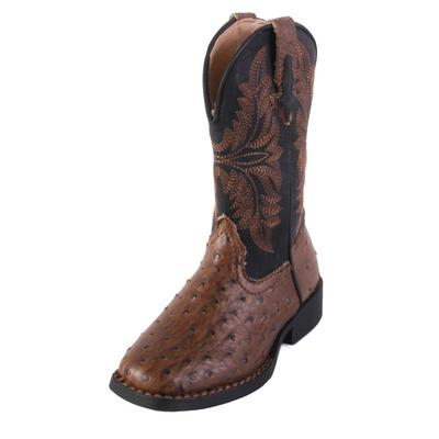 Roper Boy's Brown and Black Ostrich Western Boot