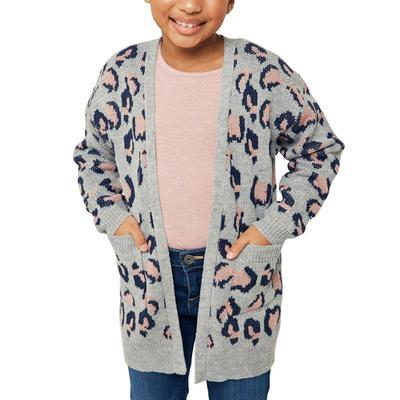 Hayden Girl's Leopard Knit Sweater Cardigan