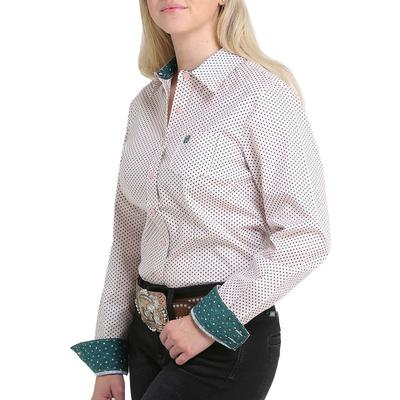 Cinch Women's Teal and Pink Button Down Shirt