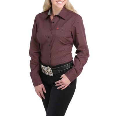 Cinch Women's Maroon and Black Button Down Shirt