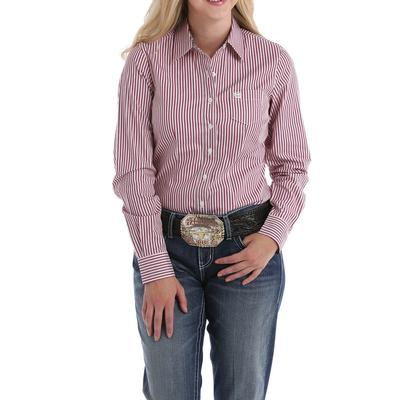 Cinch Women's Pink and Red Button Down Shirt