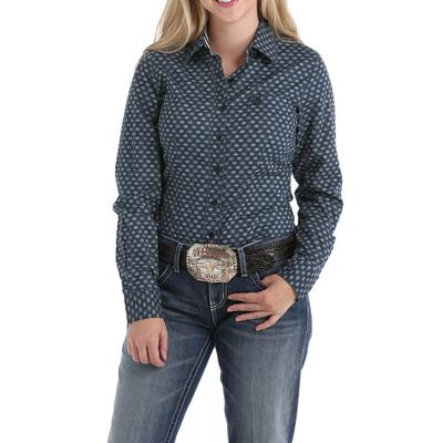 Cinch Women's Navy and Teal Button Down Shirt