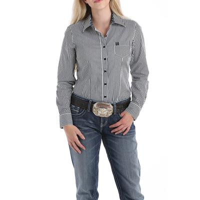 Cinch Women's Black and White Button Down Shirt