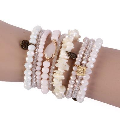 Pink Panache Pearl Beaded Bracelet Set