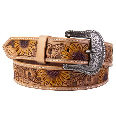 C3 Men's Sunflower Tooled Leather Belt