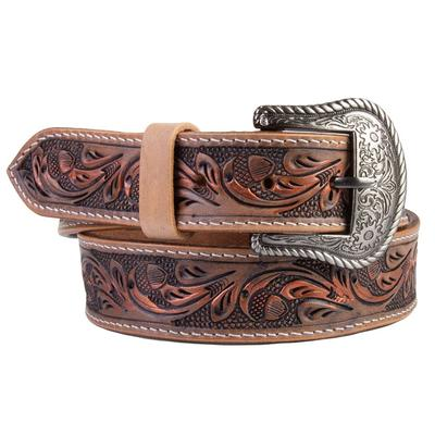 C3 Men's Brushed Red Tooled Belt