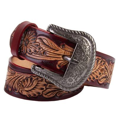 C3 Men's Red Floral Tooled Belt