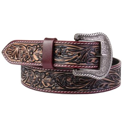 C3 Men's Brown Tooled Western Fashion Belt