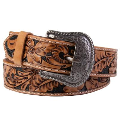 C3 Men's Tan and Black Floral Tooled Belt