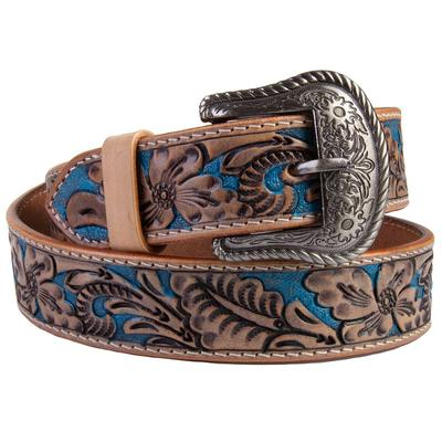 C3 Men's Brown and Blue Tooled Western Belt