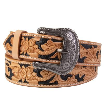 C3 Men's Tan and Black Tooled Western Belt