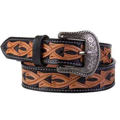 C3 Men's Black and Tan Tooled Leather Belt