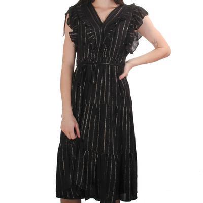 Joy Joy Women's Black and Gold Striped Ruffle Dress