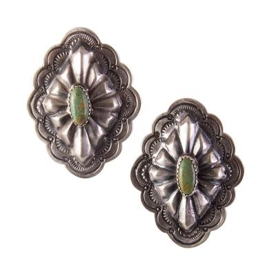 Sterling Silver Turquoise Diamond Concho Earrings