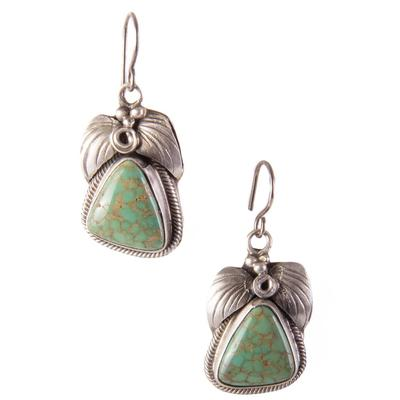 Sterling Silver Turquoise and Leaf Earrings