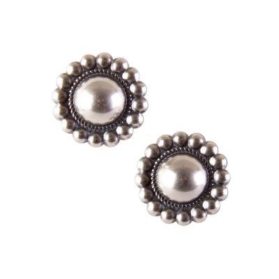 Sterling Silver Navajo Pearl Concho Stud Earrings