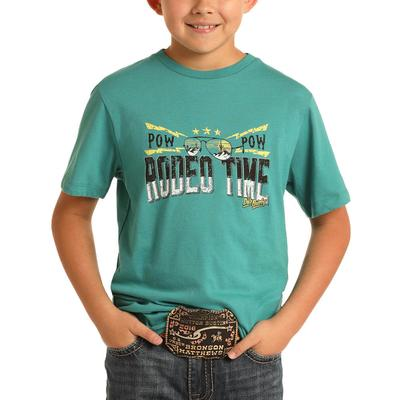 Rock&Roll Dale Brisby Boy's Turquoise Rodeo Time T-Shirt