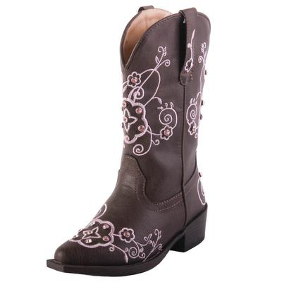 Roper Girl's Brown and Pink Crystal Boots