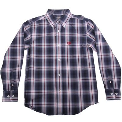 Cinch Boy's Blue Plain Weave Button Down Shirt