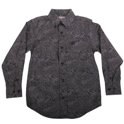 Cinch Boy's Black Plain Weave Button Down Shirt